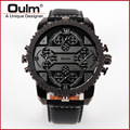 Hot Luxury Brand Oulm Tag Watches Men Leather Band 4 Quartz Time Zone Wrist Watch Male Oversized Round Dial Military Army Clock