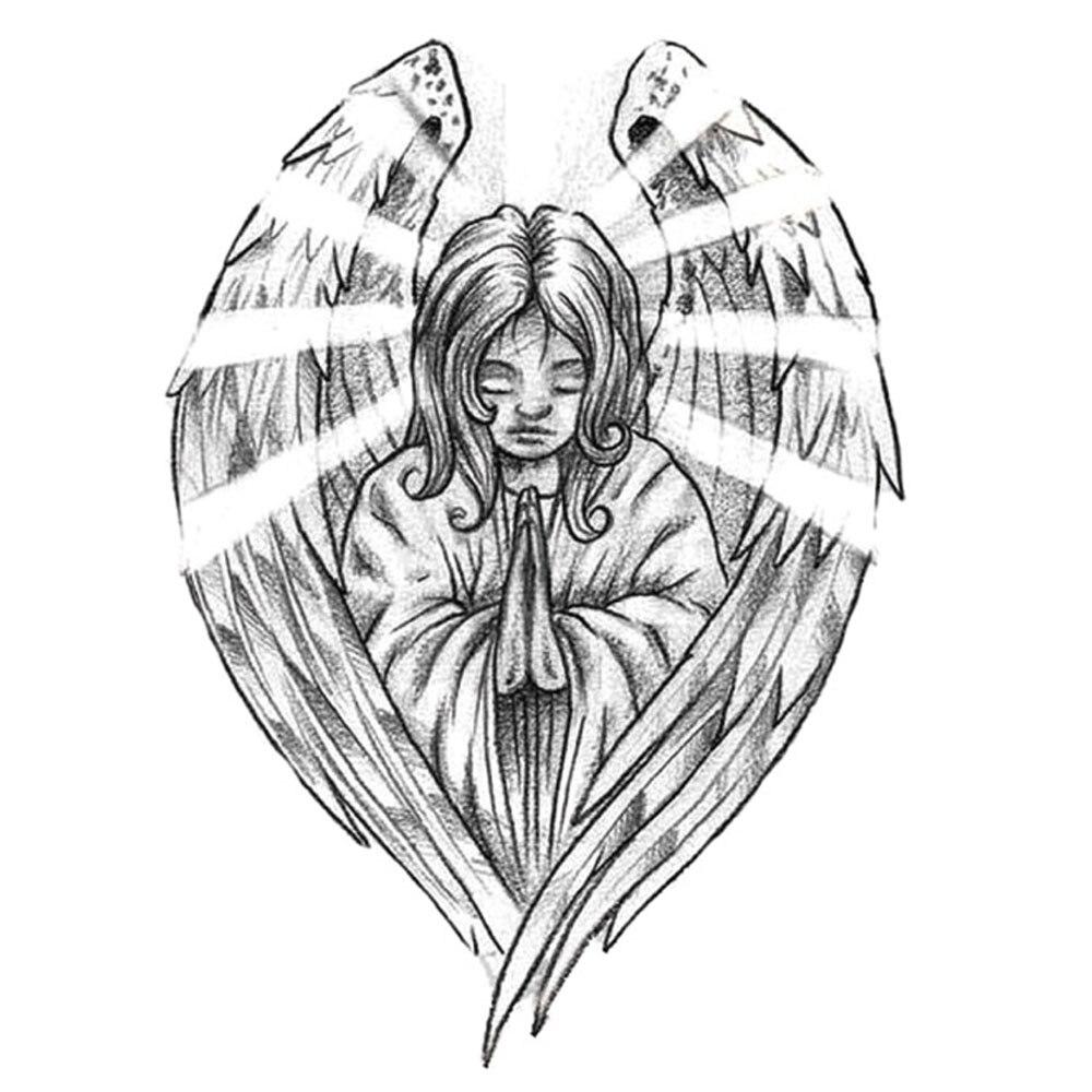 Yeeech Temporary Tattoos Sticker for Women Girl Fake Pray Wings Flame Designs Large Sexy Back Arm Leg Body Art Waterproof