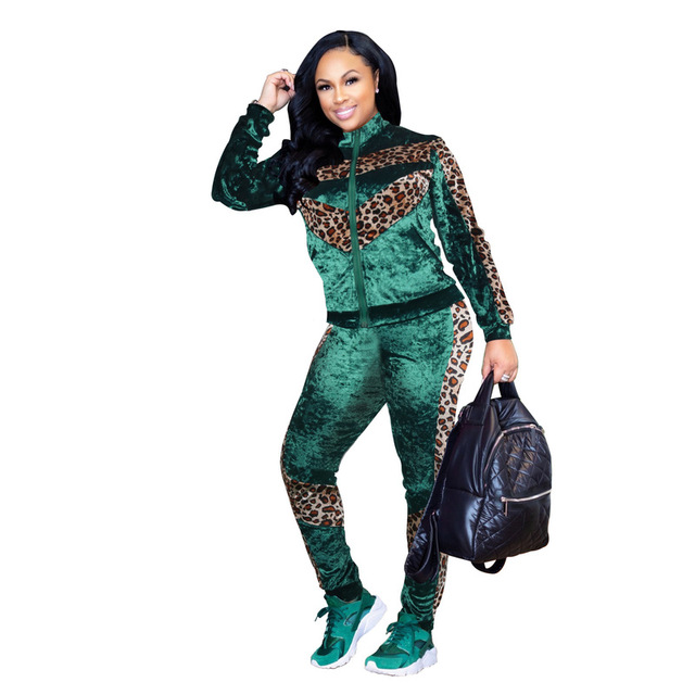 ANJAMANOR Leopard Velvet Sexy Two Piece Set Top and Pants Velour Tracksuit  Women Matching Sets Club 0bf710ccb5