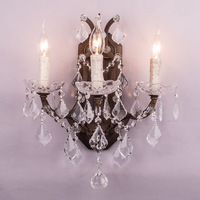 Large Big Luxury Bathroom Vanity Lights Wall Lamps Fashional Antique Rust French Crystal Candle Wall Lamp