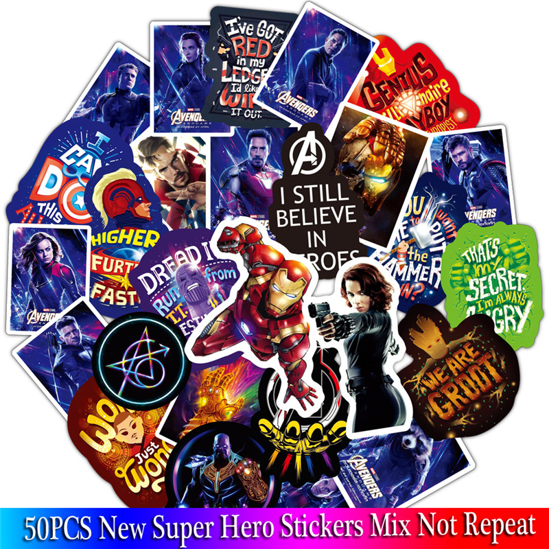 50PCS New Super Hero Stickers Sets Cartoon Anime Spider Man Sticker Lot For Laptop Bicycle Phone Guitar Marvel Stickers Pack