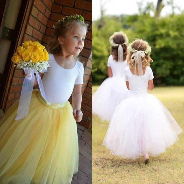 6698a0c499 Cute Flower Girls Dresses For Weddings Tulle Spandex Short Sleeves Yellow  White Tutu Toddler Flower Girl