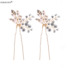 2 Pcs Handmade Gold Crystal Women Hair Pins Hair Accessories For Wedding tiara Hair Jewelry Rhinestones Bride Hair Accessories