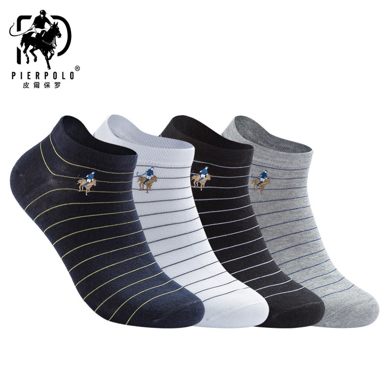 High Quality Fashion PIER POLO Brand Men Socks Stripe Business Embroidery Casual Man Ankle Funny Socks Multi 10pcs=5pairs/lot