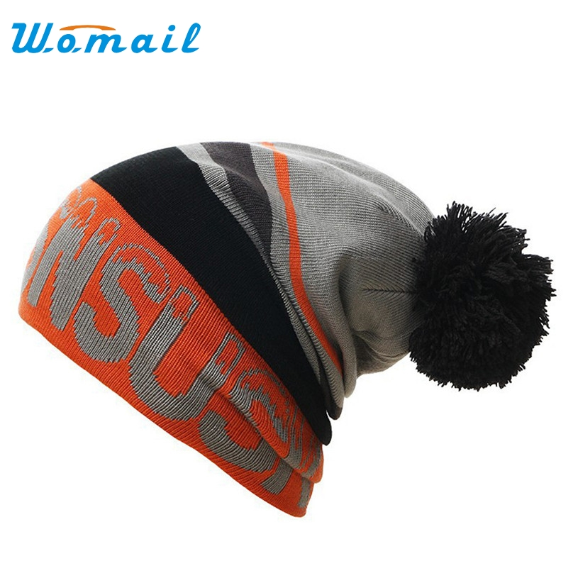 Womail 2017  Fashion Unisex Warm Winter Hats Knitted with Top Fur ball For Woman man Letter Skullies & Beanies Gorros Gift 1pc 2016 new fashion letter gorros hats bonnets