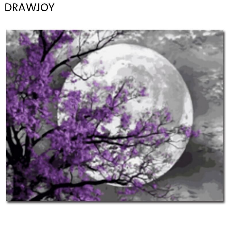 DRAWJOY Incorniciato Paesaggio Immagine Pittura A Olio di DIY Dai Numeri Pittura e Calligrafia Home Decor Wall Art GX21587 40x50 cm