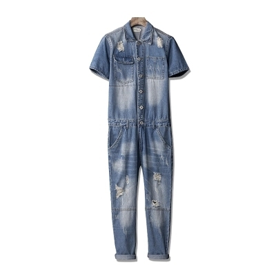 77225932182 Men Hiphop Fashion Ripped Denim Jumpsuit Male Long Sleeve Overalls  Detachable Tooling Jacket Casual Jean Jumpsuit Rompers