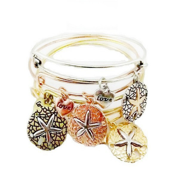New Alex And Ani Bangles Expandable Wire Cuff Starfish Evil Eye Cross