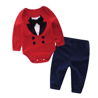 KAVKAS Spring Baby Boy Clothing Set 2pcs Gentleman Newborn Baby Clothes Roupas Bebe Infant Jumpsuits Pants