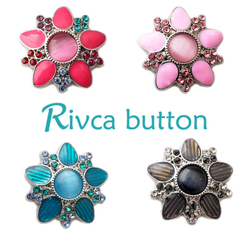 D02248  6 Color High Quality Charm Rhinestone Styles Alloy Ginger Snap Button Bracelets Woman Rivca Snap Button Jewelry