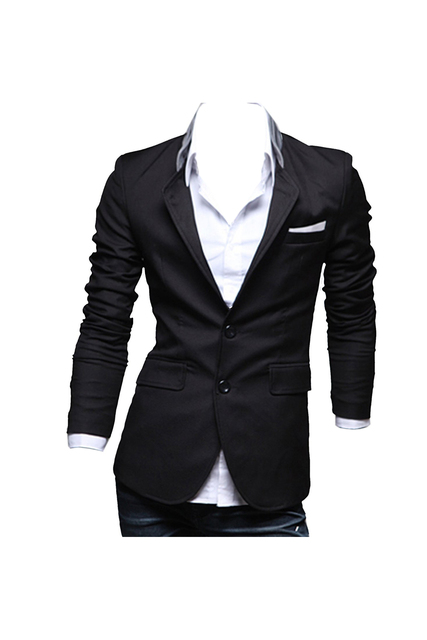 Hombres Slim Fit Blazer Jacket Coat Shirt X-large Negro