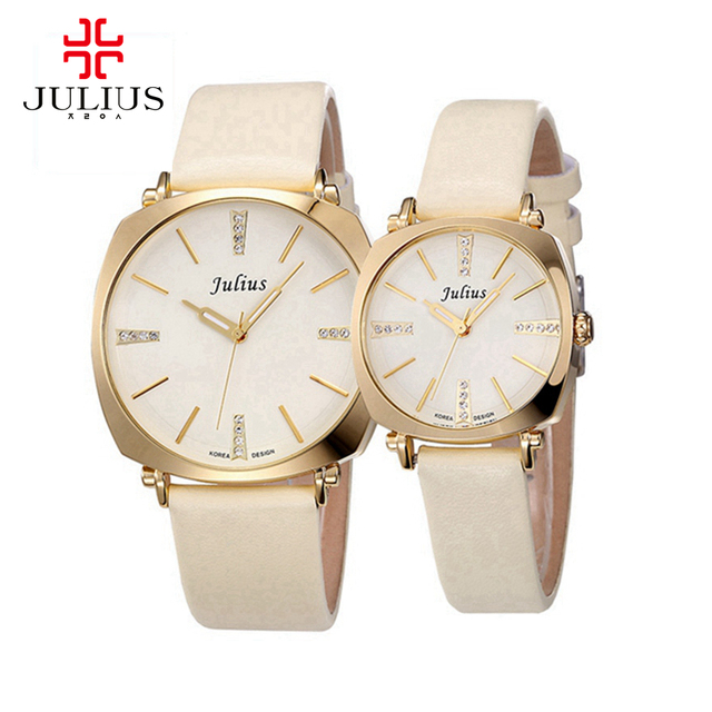 2016 mulheres Quentes dos homens favorito Amantes relógio de pulso relógios moda casual relógios de pulso de couro relógio de quartzo Miyota Famosos Julius 388 relógios