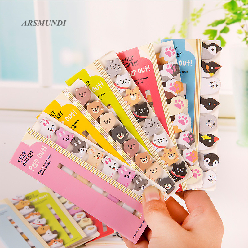 Cartoon Animals Memo Pad Kawaii Cat Sticky Notes Diy Stationery Scrapbooking Cute Planner Sticker School Office Supplies цена