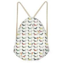 Funny Dog Dachshund Print Drawstrings Bags for Teen Girls Casual Softback Sack Bags Fashion Large Students BackpacksSumka