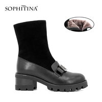 SOPHITINA Warm Wool Fur Mid Calf Boots Square Buckle Round Toe Comfortable Thick Heel Woman Boots Casual Office Woman Shoes B43