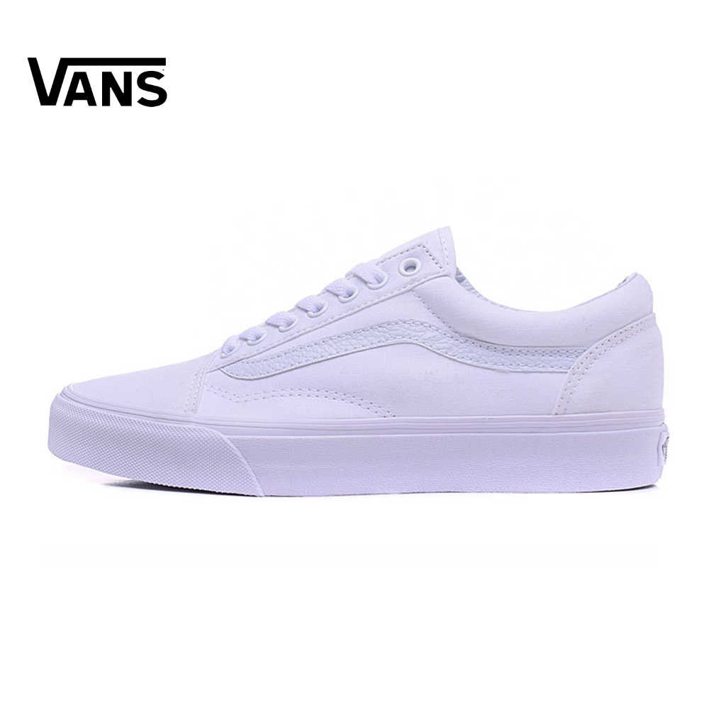6985a4d674 White Vans Old Skool Sneakers Low-top Unisex Men Women Sports Skateboarding  Shoes Breathable Classic