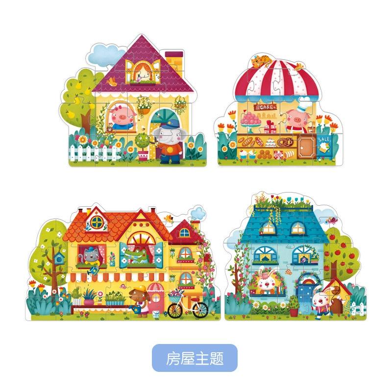 Mideer Enfants Débutant Saison Maison De Trafic Puzzle Ensemble Bébé Précoce Jouets Éducatifs Cadeau D'anniversaire Pack de 4 Boîtes - 4
