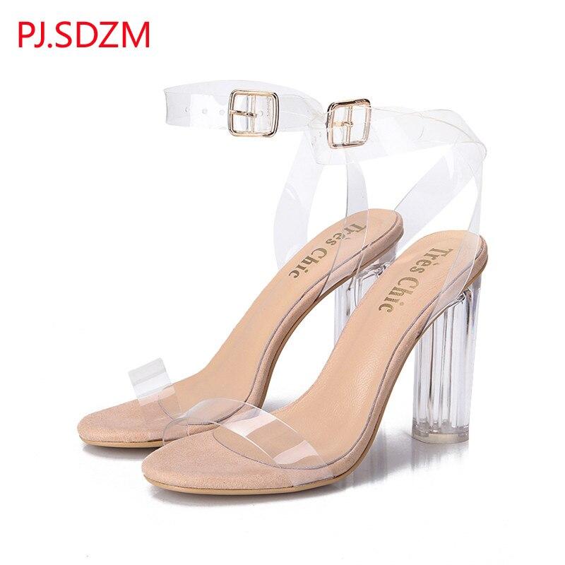 PJ SDZM Star Style Women Summer Fashion Transparent Sandals Thick Heel Open Toe Shoes Female High