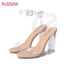 PJ. SDZM Stern Stil Frauen Sommer Mode Transparent Sandalen Starke Ferse Offene spitze Schuhe Weiblichen High Heels Knöchel Riemchen sandalen