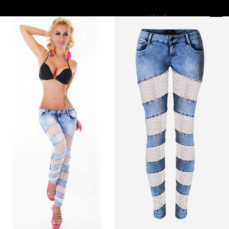 Fashion Lace Women Jeans Plus Size Sexy Hollow Out Flower Hook Tight Feet Pencil Pant Skinny Plus Size Woman Jeans