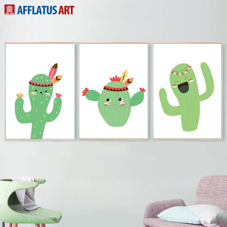 Green Cactus Nordic Posters And Prints Wall Art Canvas Painting Plant Canvas Prints Pop Art Wall Pictures For Living Room Decor in Painting Calligraphy from Home Garden