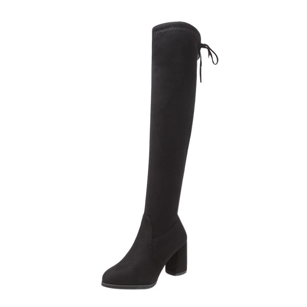 Neue Herde Leder Frauen Über Das Knie Stiefel Lace Up Sexy High Heels Frauen Schuhe Lace Up Winter Stiefel Warme größe 35-40