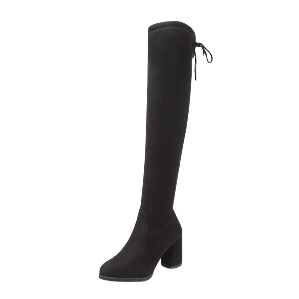 New Flock Leather Women Over The Knee Boots Lace Up Sexy High Heels Women Shoes Lace Up Winter Boots Warm Size 35-40