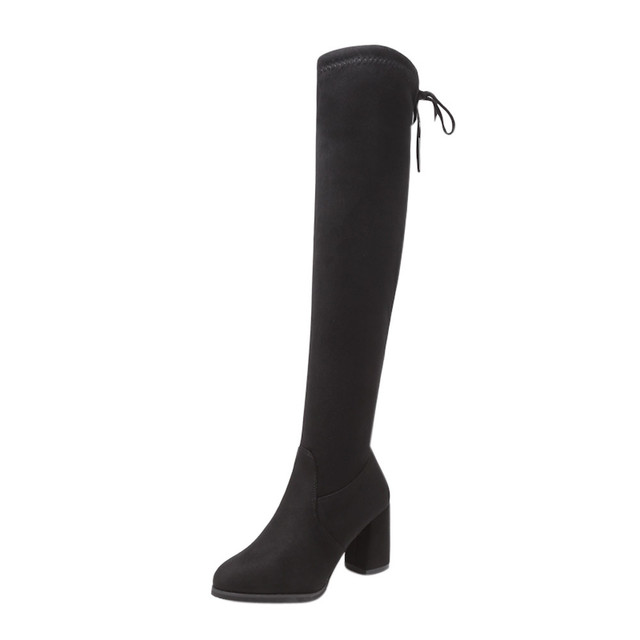 Nowe stado skórzane kobiety Over The Knee buty Lace Up Sexy wysokie obcasy damskie buty zasznurować buty zimowe ciepłe rozmiar 35-40
