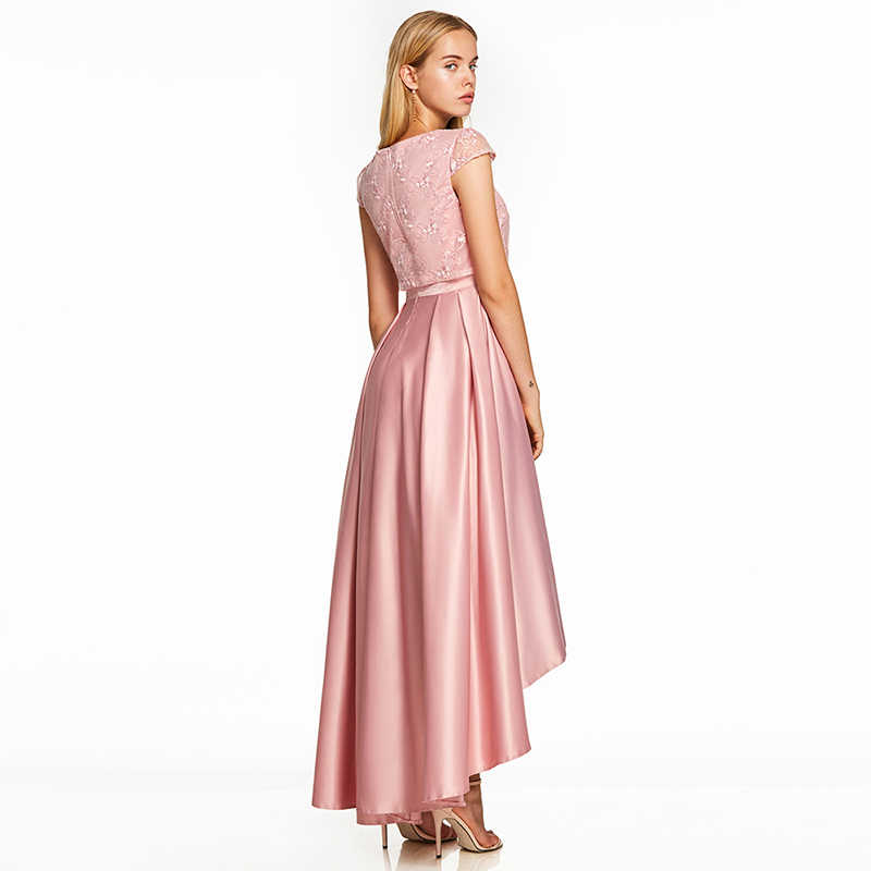 d97fe5b915a48 Tanpell asymmetry prom dresses pink cap sleeves ankle length a line gown  cheap lady lace graduation party formal long prom dress
