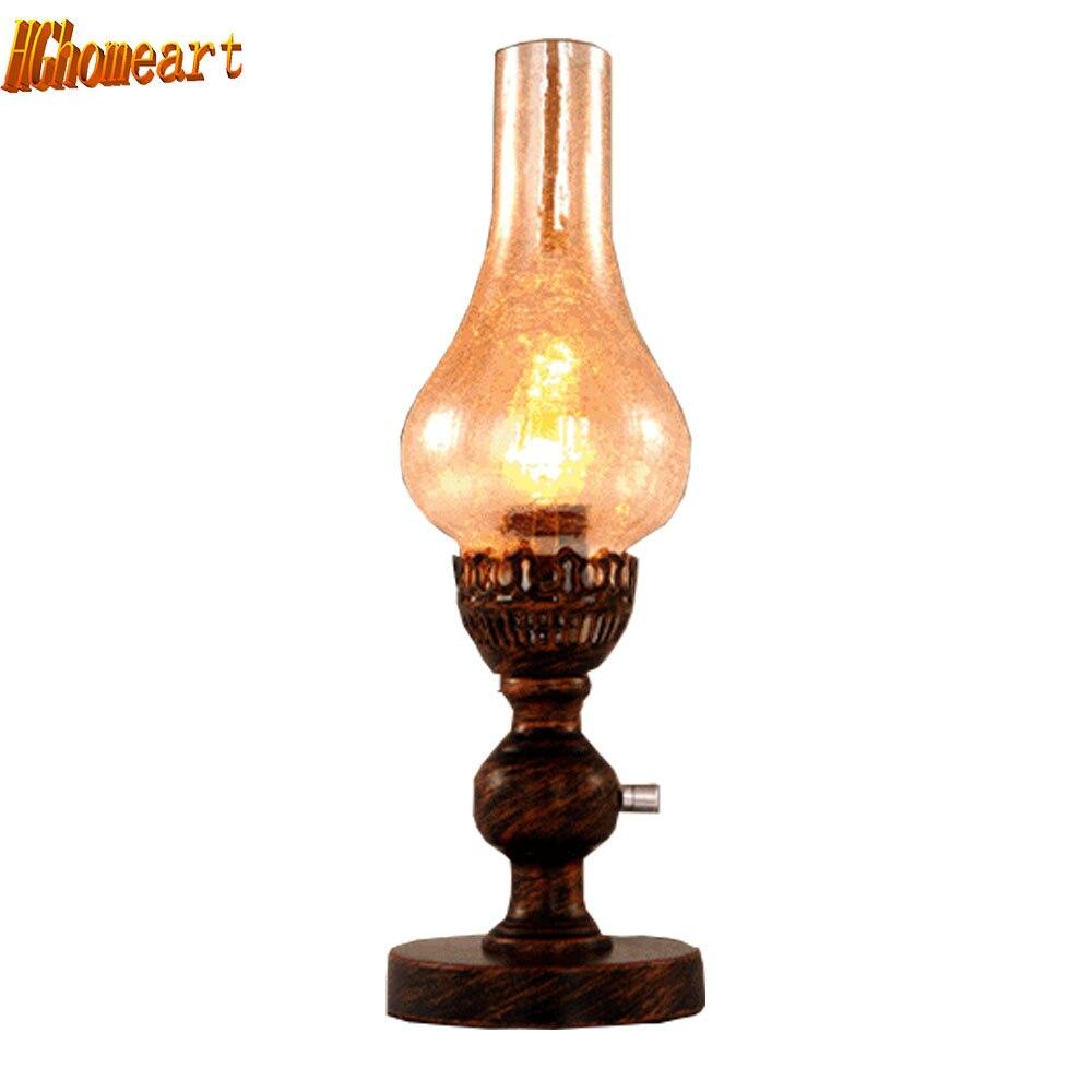 Amerikanischen Land Tisch Lampe Moderne Schlafzimmer Nacht Kreative Glas Tisch Lampe Europäischen Pastoralen Dimmen Tisch Lampe Licht & Beleuchtung Led-lampen