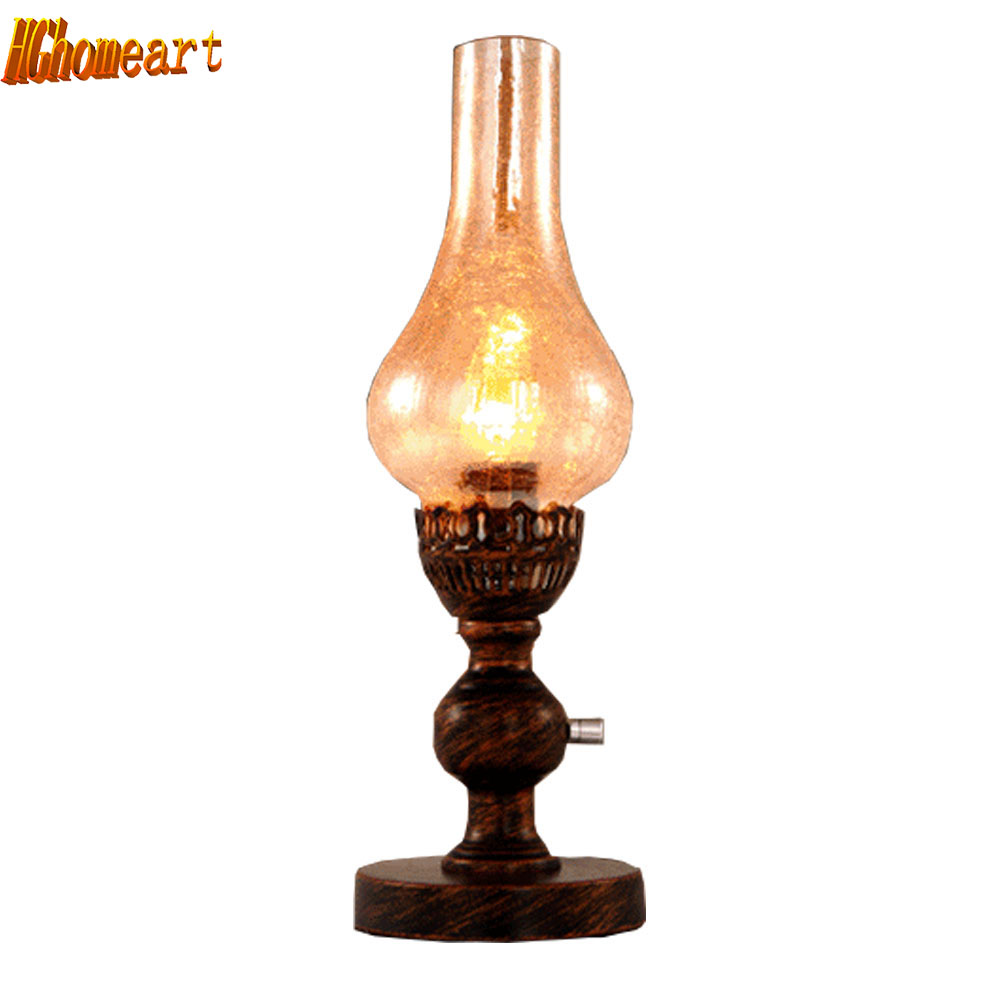 HGhomeart European Style Retro Wedding Table Lamp Pastoral Kerosene Lamp Dimming Nostalgia Bedside Lamp Creative Decoration