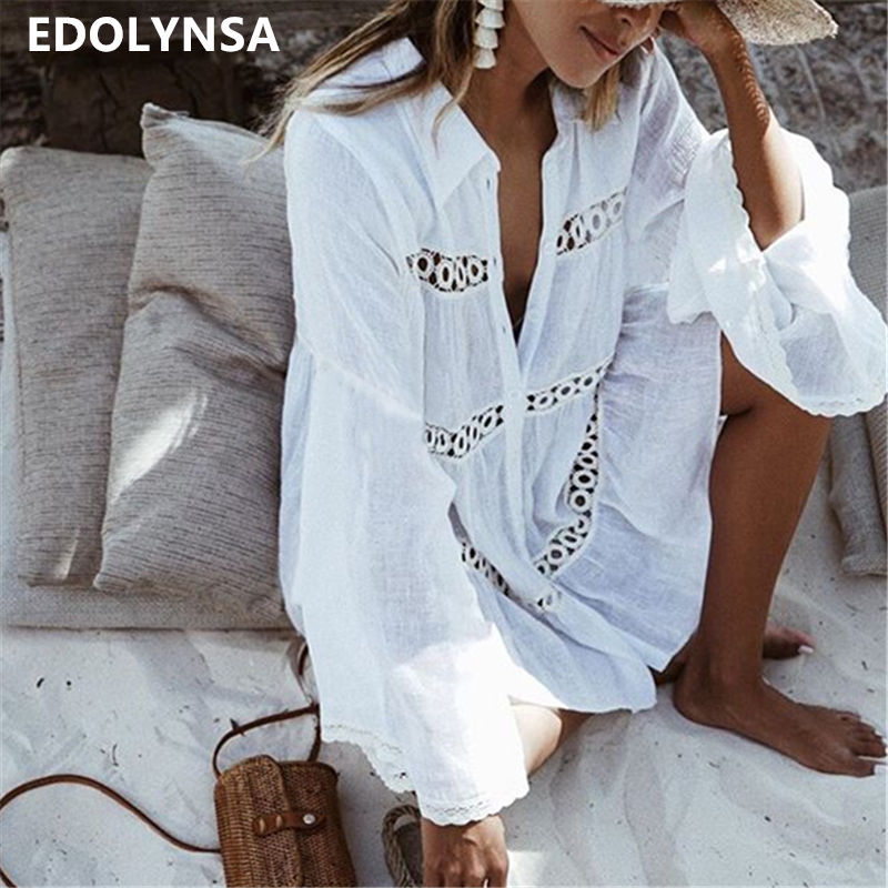 Frauen Badeanzug Abdeckung Ups Mandarin Hülse Kaftan Strand Tunika Kleid Robe De Plage Solide Weiß Baumwolle Pareo Strand Cover Up # Q429