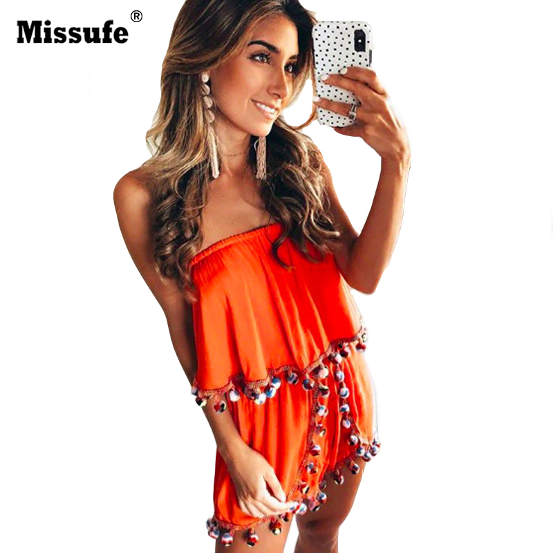 Missufe 4 Colors Sexy Strapless Playsuit For Women Tassel Patchwork Bodysuits Female Rompers 2018 Summer Bohemian Jumpsuit