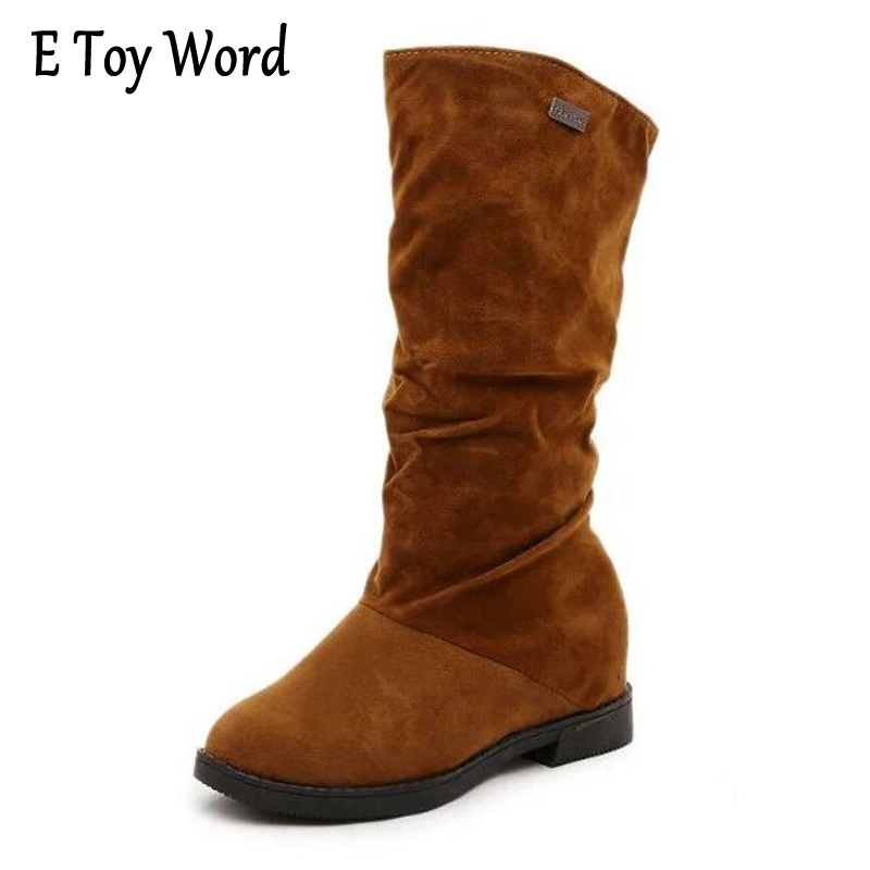 E TOY WORD 2017 New Product Autumn Mid-calf boots Women Fashion Sexy Women Shoes Matte Flock High Boots Pleated Boots Winter double buckle cross straps mid calf boots