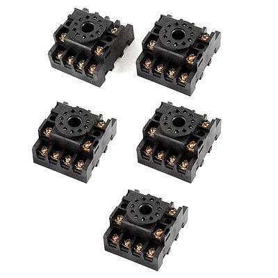5 Pcs PF113A 11P Screw Terminal Relay Socket Base DIN Rail for MK3P 3 pcs din rail mounting plastic relay socket base holder for 8 pin relay pyf08a