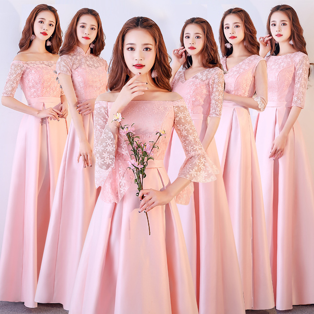 XBQS1107#Lace up Peach pink styles of long medium and short Bridesmaid Dresses wedding party prom dress 2019 wholesale clothing