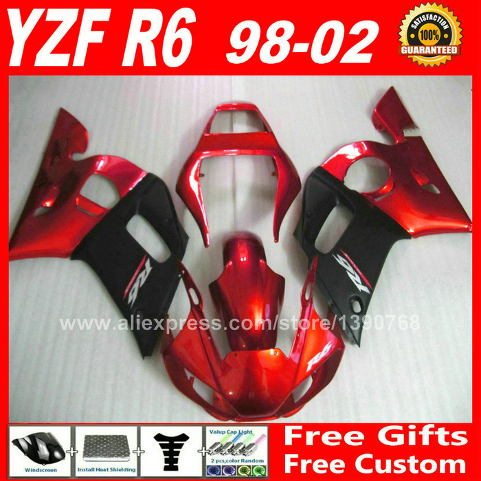 Fairing kit for 1998 - 2002 YAMAHA R6 1999 2000 2001  body parts  red matte black 98 99 00 01 02 fairings kits H6S2 1999 2002 land rover discovery ii 2 chrome trim for grill grille 2000 2001 99 00 01 02