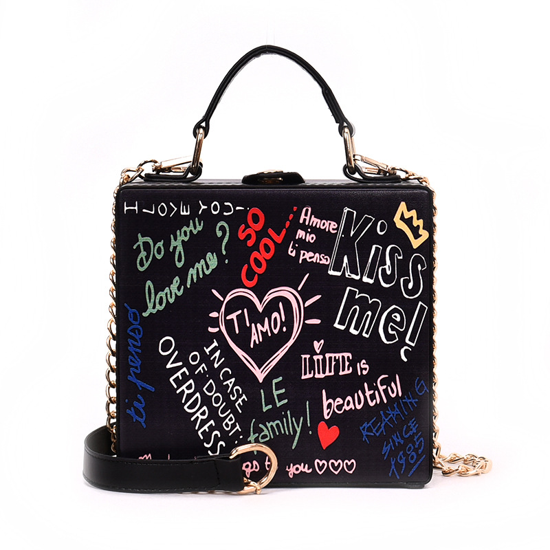 XCZJ Vintage Trendy Design Graffiti Alphabet Print Pu Leather Box Style Tote Chains Women Mini Crossbody Messenger Shoulder Bag цена