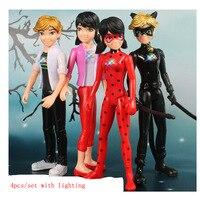 4pcs Lot 14 5 5cm Lighting PVC Miraculous Ladybug Adrien Noir Agreste Cat Action Figure Model