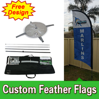 Free Design Free Shipping Single Sided Feather Flags with Cross BaseCheap Portable Flags Pop Up Flags Banners Beach Flag