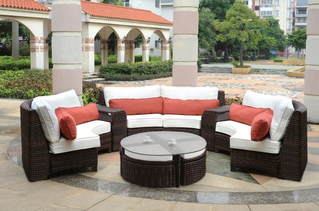 2017 Modern Outdoor Furniture Resin Wicker Curved Sectional Garden Sofa Set 6 Piece