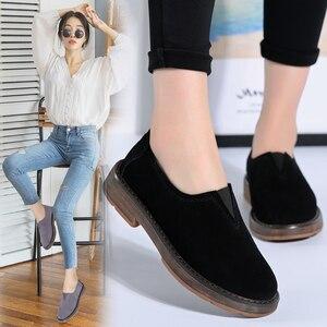 Image 5 - STQ 2020 printemps femmes chaussures plates femmes sans lacet mocassins plats en cuir suédé chaussures à la main en caoutchouc bateau chaussures noir Oxfords 1702
