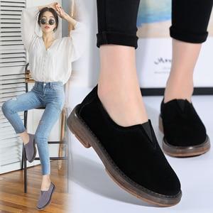 Image 5 - STQ 2020 אביב נשים דירות נעלי נשים להחליק על שטוח ופרס זמש נעלי עור בעבודת יד גומי סירת נעלי אוקספורד שחורות 1702