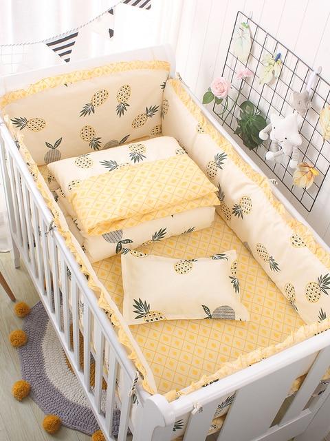 Promotion! 6/9PCS pineapple Cartoon Baby Crib Bedding set Comforter Cover Bumpers Sheet blanket ,120*60/120*70cm