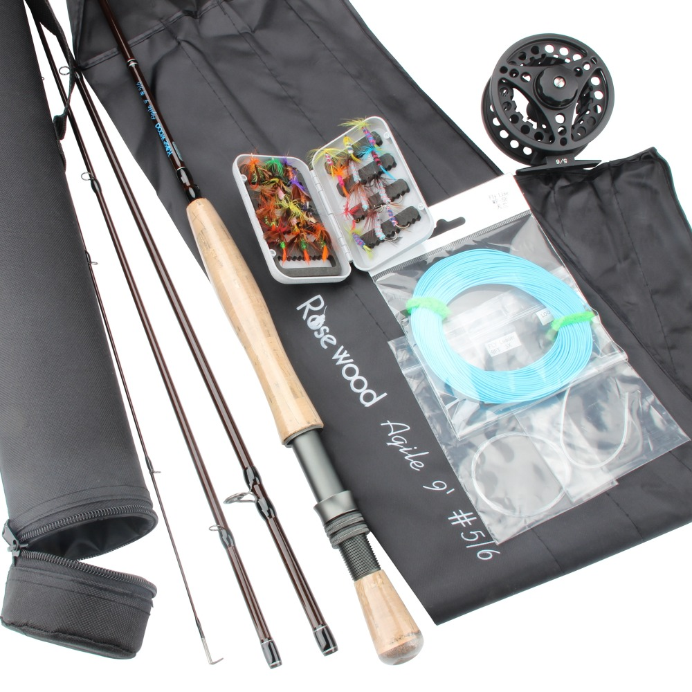 Cheap 5 6 Fly Fishing Combo Set Carbon Fiber Rod 2 7m 35yards Various Fly Fishing