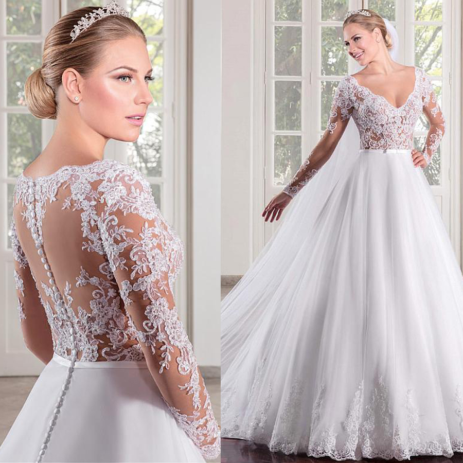 Marvelous Tulle V-neck Neckline See-through Bodice A-line Wedding Dress With Lace Appliques Long Sleeves Bridal Dress