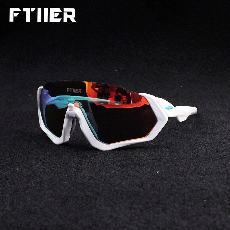 Ftiier 3 Lens UV400 Polarized Cycling Sunglasses TR90 Sports Bicycle Glasses MTB Mountain Bike Fishing Hiking