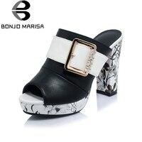 BONJOMARISA Women S Flower Print Buckle Rhinestone Charm High Heel Summer Shoes Woman Open Toe Platform