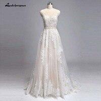 Champagne wedding dress tulle lace long champagne bridal dress Vestido de Noiva White Ivory Bridal Gowns