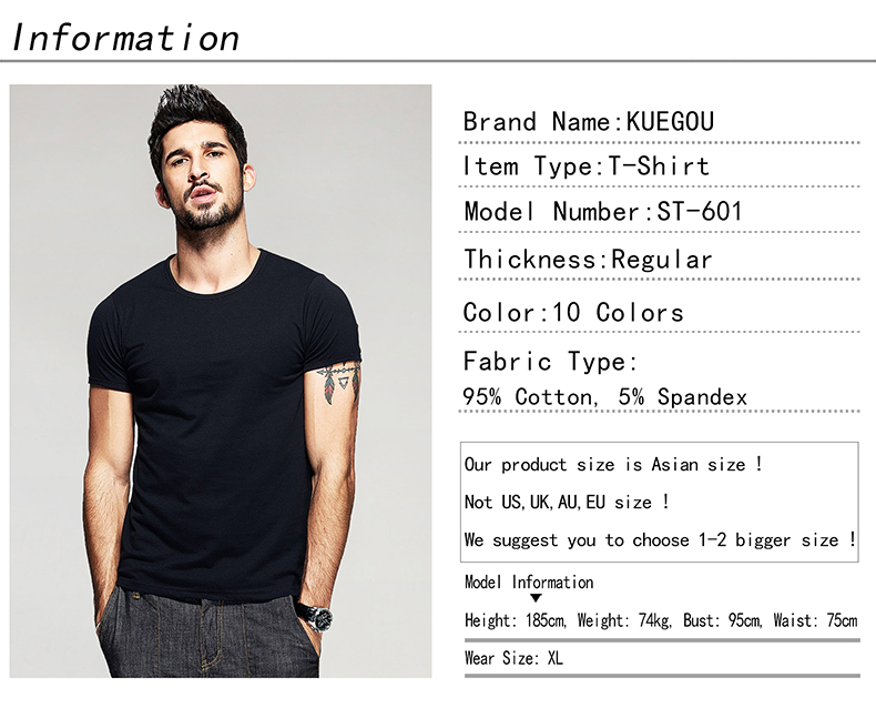 KUEGOU Summer Mens Casual T Shirts 10 Solid Colors Brand Clothing Man's Wear Short Sleeve Slim T-Shirts Tops Tees Plus Size 601 12